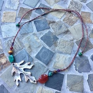 Silver Leaf and Stone necklace